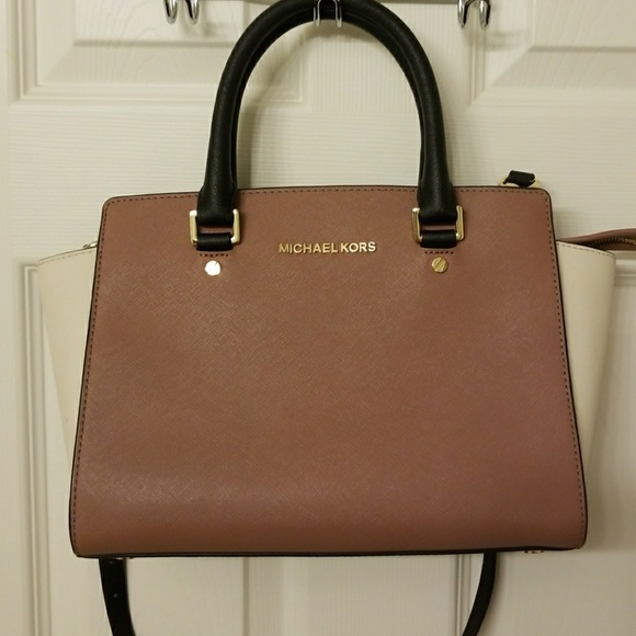 4f6e470235e1 Michael Kors Selma Medium Satchel Dusty Rose